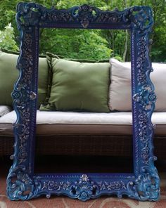 Purple to Blue Ombre' large vintage syroco style frame, hand-painted with silver gilded accents... SOLD