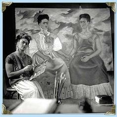 Frida Painting the Two Fridas 1939-40 - was a Mexican painter, born in Coyoacán, who is best known for her self-portraits.