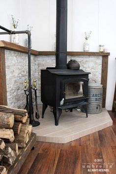 16 Best DIY Corner Fireplace Ideas for a Cozy Living Room in 2019 – Freestanding fireplace wood burning Wood Stove Surround, Wood Stove Hearth, Slate Fireplace, Fireplace Hearth, Wood Burner, Fireplace Surrounds, Fireplace Design, Fireplace Ideas, Corner Fireplaces