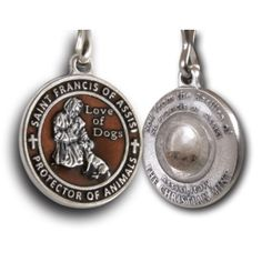 Francis Pewter Enameled Pet Medal With Assisi Soil