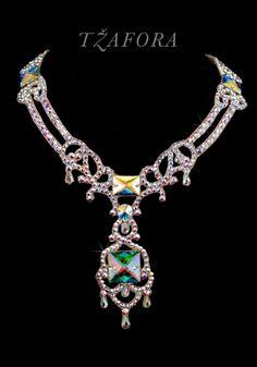 """Lush Life"" - Swarovski ballroom necklace. Ballroom dance jewelry, ballroom dance dancesport accessories. www.tzafora.com Copyright © 2016 Tzafora."