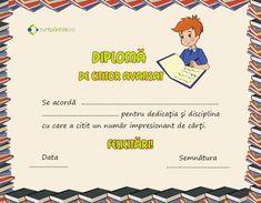 Model de diploma cititor Motiveaza-l pe copil sa citeasca Preschool Graduation, Personal Development, Student, Books, Kids, Reading, Bebe, Young Children, Libros