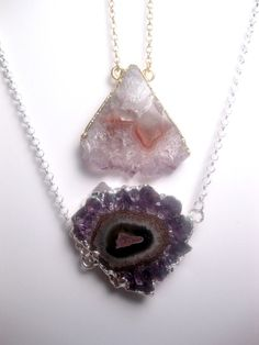Ice Crystal  Geode Slice  Triangle Necklace by FashionCrashJewelry