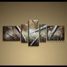 Astonishing Modern Abstract Painting Hand Painted Oil Painting Gallery Stretched Abstract. This 5 panels canvas wall art is hand painted by A.Qiang, instock - $175. To see more, visit OilPaintingShops.com