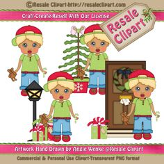 Night Before Christmas Boy with Blonde Hair Clipart
