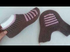 çok kolay bot patik modeli yapılışı / iki şiş patik modelleri / bayan patik modelleri - YouTube Crochet Mittens Free Pattern, Baby Cardigan Knitting Pattern Free, Baby Boy Knitting Patterns, Knitting Stitches, Knit Crochet, Fabric Yarn, Crochet Baby Shoes, Shoe Pattern, Knitted Slippers