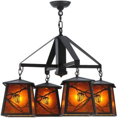 28 Inch W Whispering Pines 4 Lt Chandelier