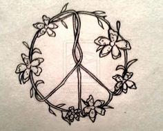 Sun Moon, Flowers Peace Sign Yin Yang Flower Tattoos.... Hippie ...