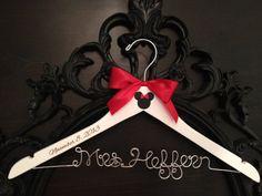 Disney Bridal Hanger, Wedding Hanger, Brides Hanger, Mickey & Minnie Wedding, Disney Wedding, Personalized Hanger, Mickey Hanger on Etsy, $36.00