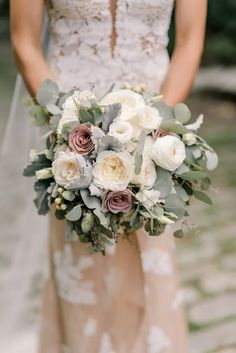 Elegant Vintage Bouquet of White and Mauve Roses and Eucalyptus Leaves – www.the… Elegant Vintage Bouquet of White and Mauve Rustic Bouquet, Rustic Wedding Flowers, White Wedding Bouquets, Wedding Flower Arrangements, Bridal Flowers, Flower Bouquet Wedding, Floral Wedding, Bridal Bouquets, Purple Bouquets
