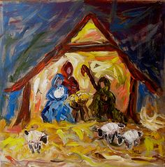 Acrylic Art Christmas Scenes - This Nativity has an abstract feel. It is painted on a panel using acrylic. http://www.ablankcanvas.net