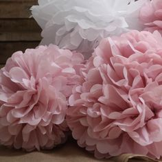 Large Blush Pink Paper Pom Poms - The Wedding of My Dreams