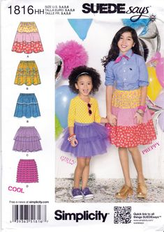 06d3e40882bc99 Simplicity 1816 Girls Pull On Skirts Sewing Pattern Various Styles Childrens  Kids Sizes 3-4-5-6