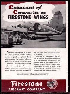 1944 WW II CURTISS C-46 COMMANDO Transport Plane WWII WW2 Firestone Aircraft AD