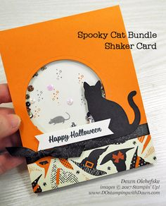 Stampin' Up! Spooky Cat Bundle Shaker Card by Dawn Olchefske #dostamping #stampinup #handmade #cardmaking #stamping #diy #halloween #spookycat