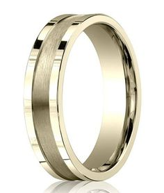 Contemporary 18K Yellow Gold Designer Wedding Band for Men   6mm