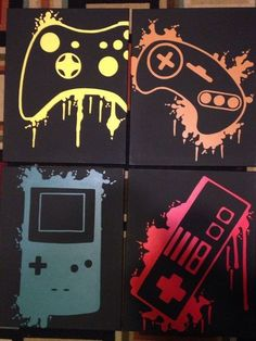Nintendo Four Piece Video Game Controller Paintings Set Video Game Art Hand Painted Custom Colors Custom Wall Art Video Game Decor