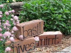 Turn old bricks into herb garden markers. Bricks used as garden edging could do . Turn old bricks into herb garden markers. Bricks used as garden edging could do double duty as plant signs. Garden Crafts, Diy Garden Decor, Garden Projects, Garden Art, Easy Garden, Garden Ideas, Garden Decorations, Diy Projects, Brick Projects