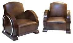 PAIR OF ART DECO 1930S LEATHER CLUB CHAIRS