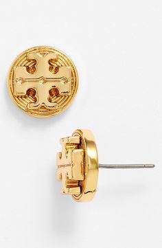 Love these gold Tory Burch 'Livia' stud earrings.