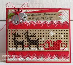 Anja Zom kaartenblog Cross Stitch Christmas Cards, Xmas Cross Stitch, Cross Stitch Cards, Christmas Cards To Make, Christmas Cross, Tiny Cross Stitch, Easy Cross Stitch Patterns, Cross Stitch Borders, Simple Cross Stitch