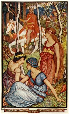 The Emperor Meets The 3 Sisters - The Violet Fairy Book by Andrew Lang, 1906