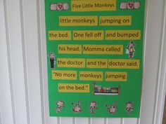 Five Little Monkeys Jumping on the Bed. I Kinders love this. Great for subtracting from 5. Included in my new pack on TpT.