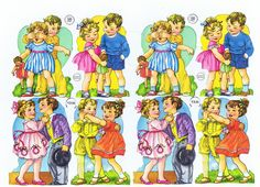 Vintage Die Cut Sheet Playing Children large size (Image1)