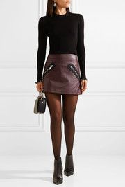 Twill-trimmed leather mini skirt