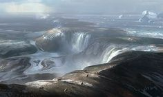 Artist's illustration of the ancient ice age land bridge connecting Britain with France. The foreground is around where the port of Calais is today. The waterfalls cascading over the land bridge represents the beginning of physical separation of Britain from Europe.