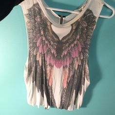 Angel Muscle Tank beautiful muscle tank with a fake zipper in the back Tops Muscle Tees