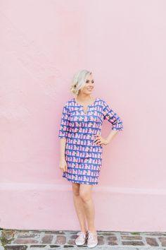 Charleston SC Style // Borough Shift Dress // Kate Spade Rose Gold Keds