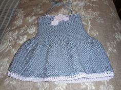 Baby Dress, Hand Knit Baby Dress, Halter Dress, Knit Baby Halter Dress by bonitastewart on Etsy