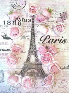 Paris Eiffel Tower Shabby Chic Pink Roses French Script Parisian Prints Typography Art Print by Kathy Fornal Shabby Chic Pink, Shabby Chic Crafts, Pink Paris Wallpaper, Shabby Chic Wallpaper, Decoupage Printables, French Script, Paris Images, Paris Art, Paris Eiffel Tower