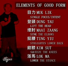 Wing Chun's Elements of Good Form, I think this can also be applied to different martial arts.