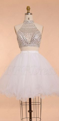 Crystals sparkle two piece short prom dresses puffy homecoming dresses high neck backless prom dress Middle School Prom Dresses, Grad Dresses Short, Prom Dresses Two Piece, Prom Dresses For Teens, Backless Prom Dresses, Hoco Dresses, Short Prom, Modest Dresses, Dance Dresses