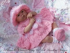 Lacy Edged Summer Dress Set 16-22 inch doll/0-3m baby-