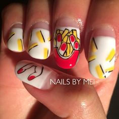 Nail French fries drawing #NailsByMei #handpainted #gelnails