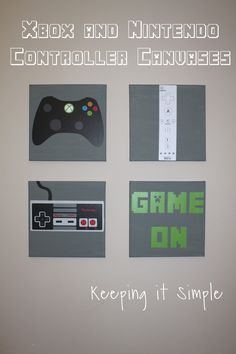DIY Xbox and Nintendo Controller Canvases. Perfect for a game room or boy bedroom