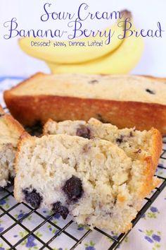 Sour Cream Banana-Berry Bread    by dessertnowdinnerlater #Bread #Banana #Berry