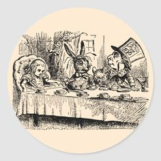 Vintage Alice in Wonderland, Tea Party Scene Classic Round Sticker . Alice In Wonderland Croquet, Tea Illustration, Alice Tea Party, Vintage Fairies, Party Scene, Mad Hatter Tea, Adventures In Wonderland, Round Stickers, Custom Stickers
