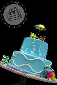 Note to self.fondant icing do NOT hold up to GA heat in August. However, the cake looked awesome until we went outside. Pool Birthday Cakes, Pool Party Cakes, Pool Cake, Pool Party Themes, Party Ideas, Birthday Ideas, Kylie Birthday, Girl Birthday, Party Time
