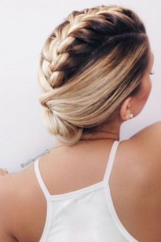 braided hairstyle, braided updo, french braid mohawk, easy hairstyles, simple hairstyles, short updo, medium length hairstyles, blonde ombre