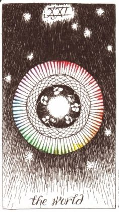 the world - the wild unknown tarot (by kim krans) XXI The World Tarot, Venus In Gemini, Tarot Astrology, Daily Tarot, Major Arcana, Oracle Cards, Chalk Art, Tarot Decks, Archetypes