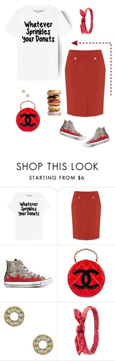 """Whatever sprinkles your donuts!"" by musicfriend1 ❤ liked on Polyvore featuring Nougat, Converse, Chanel, Roberta Chiarella, Charlotte Russe and vintage"