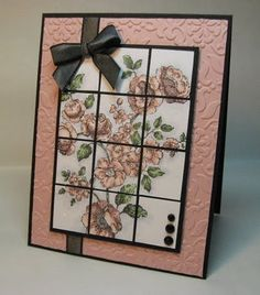 Mosaic tiles theme...this beautiful card has a pretty image and definitely the tile look...really ike the bow treatment on this card...