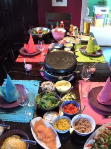 Ingredients for a raclette grill, raclette party