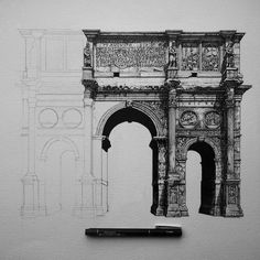 @liamhippleillustration Pleased with the recent progress #archofconstantine #arch #rome #roman #italy #italia #colluseum #ancient #roman #architecture #architectureporn #architecturelovers #architectural #design #illustration #illustrator #drawing #draw #pen #ink #sketch #shadow #detail #wip #sculpture #gothic #archilovers #archidaily #art