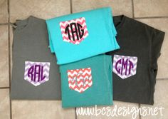 Fabric Pocket Tee with GLITTER heat press Monogram [Short Sleeve]