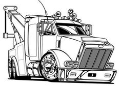A Peterbilt 386 Semi Truck Coloring Page | coloring | Pinterest ...